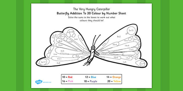 Colour by Number Bonds to 20 to Support Teaching on The Very Hungry Caterpillar - number
