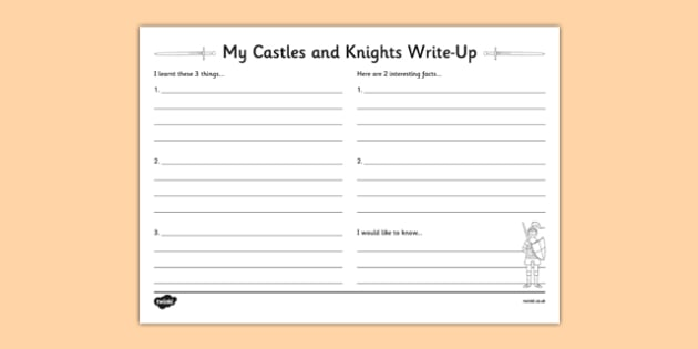 castles and knights write up activity sheet castles knights. Black Bedroom Furniture Sets. Home Design Ideas