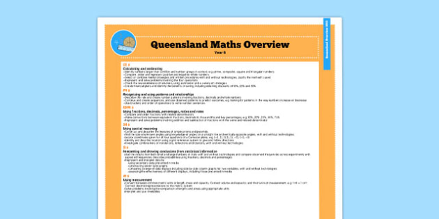Queensland Curriculum Year 6 English Maths Numeracy Syllabus Overview - australia