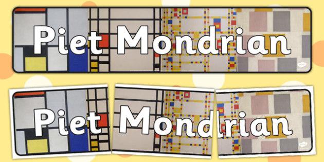 Piet Mondrian Display Banner - piet, mondrian, display, banner