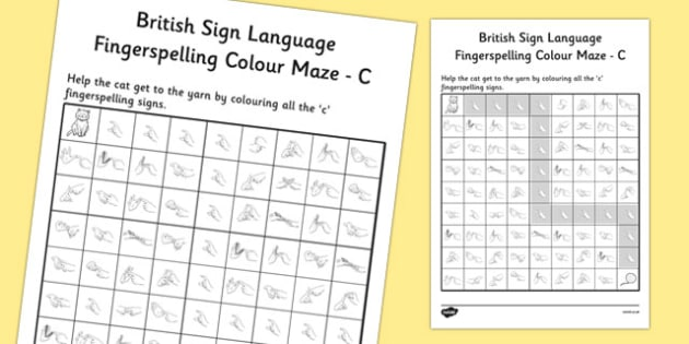 British Sign Language Left Handed Fingerspelling Colour Maze C