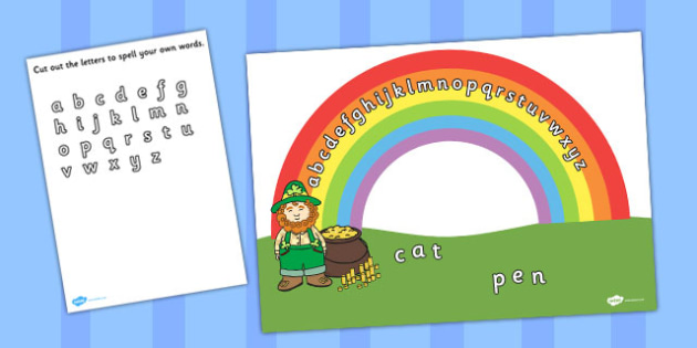 Rainbow Alphabet Cut and Stick Activity - letters,  rainbows, cutting