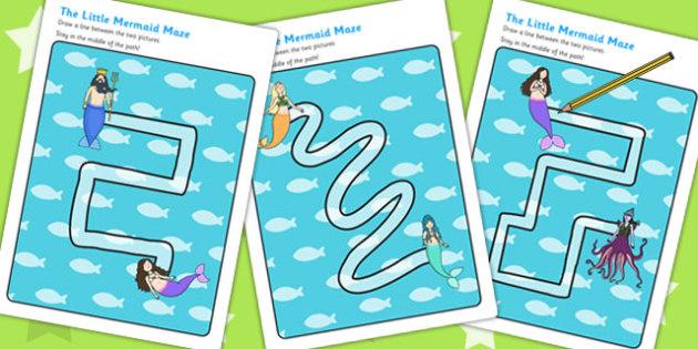 The Little Mermaid Pencil Control Path Worksheets - motor skills