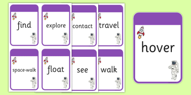 Space Themed Verb Action Cards - verb action cards, verb, action, activity, cards, space