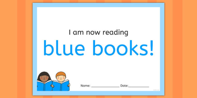 I'm Now Reading Blue Books Certificate - certificate, coloured, reading, book