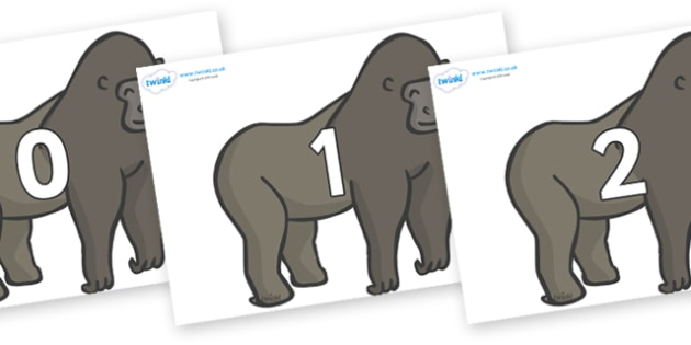 Numbers 0-50 on Gorillas - 0-50, foundation stage numeracy, Number recognition, Number flashcards, counting, number frieze, Display numbers, number posters
