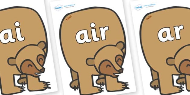 Phase 3 Phonemes on Brown Bear to Support Teaching on Brown Bear, Brown Bear - Phonemes, phoneme, Phase 3, Phase three, Foundation, Literacy, Letters and Sounds, DfES, display