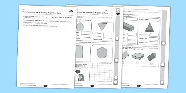 Year 2 Maths Assessment: Geometry - Properties of Shapes Term 1 - shapes, year 2, maths, assessment, geometry, properties, term 1