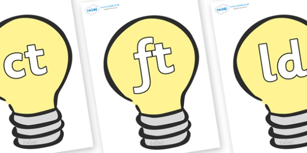 Final Letter Blends on Lightbulbs (Plain) - Final Letters, final letter, letter blend, letter blends, consonant, consonants, digraph, trigraph, literacy, alphabet, letters, foundation stage literacy