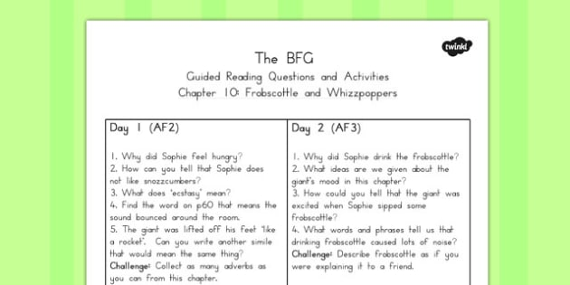 Guided Reading Questions Chapter 10 to Support Teaching on The BFG - australia, bfg, guided reading