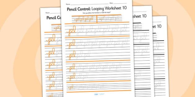 Pencil Control Looping Worksheet 10 - pencil control, looping