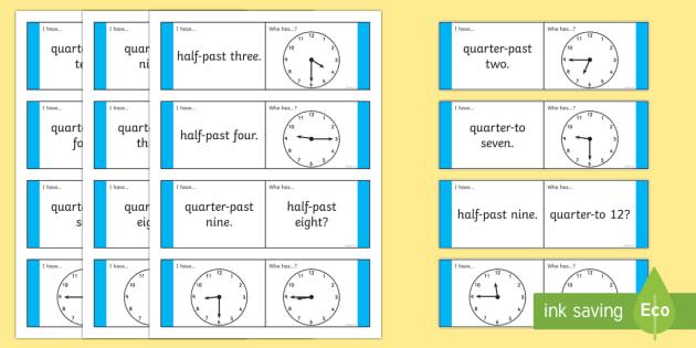 Half Past Quarter To Loop Cards Analogue Clocks - analogue, clocks