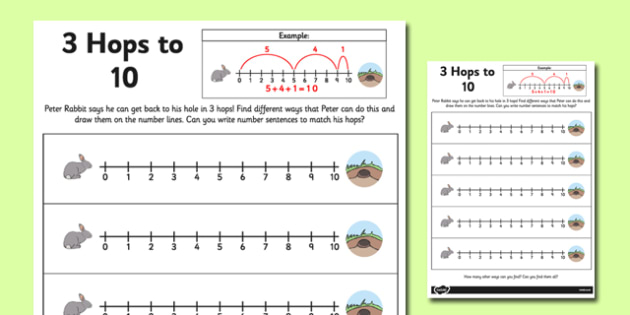 3 Hops to 10 Activity Sheet - number line, activity, 3 hops, 10, worksheet
