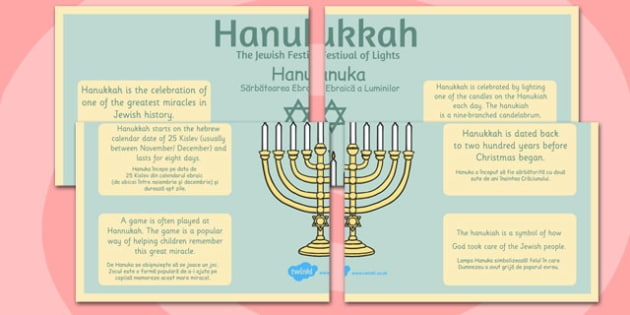 Hannukah Large Information Poster KS2 Romanian Translation 4xA4 - Romanian, Judaism, Jewish Festival, menora, light