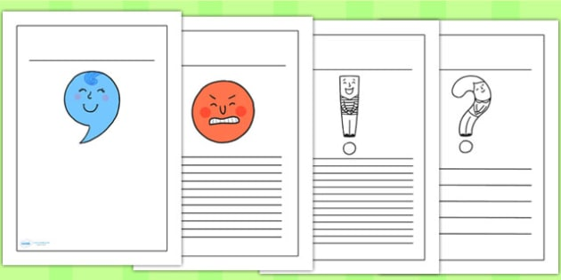 Punctuation Characters Writing Frames - punctuation, literacy