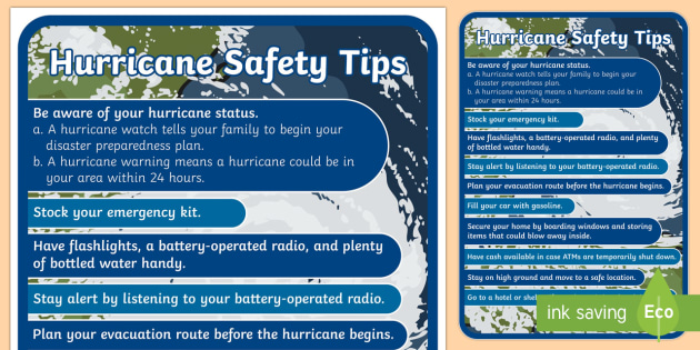 Hurricane Safety Tips Display Poster - Hurricanes, storms, hurricane safety, poster, display, weather