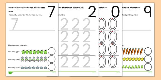 0-9 Number Formation Worksheets - number formation worksheets, writing numbers, learning to write numbers, number tracing sheets, number writing practise, overwriting