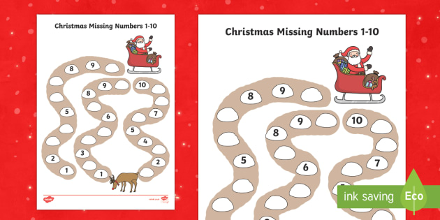 Christmas Path Missing Numbers to 10 Activity Sheet