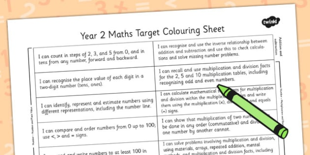 2014 Curriculum Year 2 Maths Target Colouring Sheet - numeracy