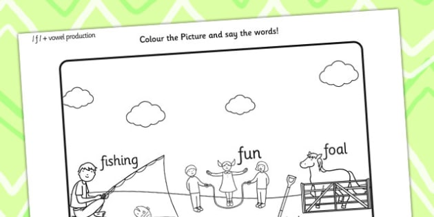 Word Initial f Production Colouring Scene - sounds, colours