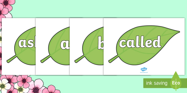 Tricky Words on Spring Leaves - Tricky words, DfES Letters and Sounds, Letters and sounds, display, words