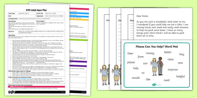 Please Can You Help? EYFS Adult Input Plan and Resources - people who help us, Help, letter, please, writing, example, important, posted