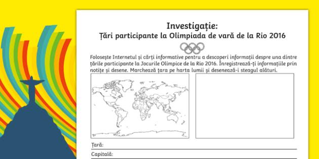 Țări participante la Olimpiada de vară de la Rio 2016 - Fișă de investigație