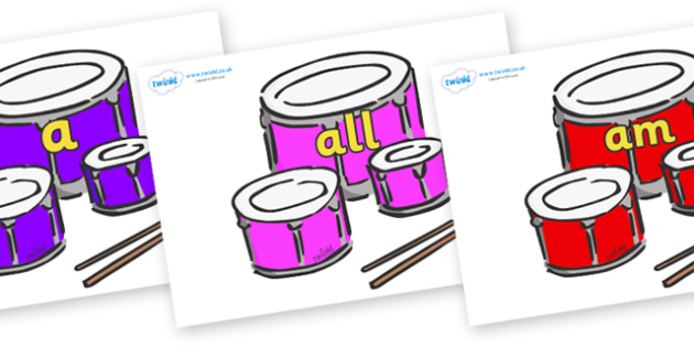 Foundation Stage 2 Keywords on Drums - FS2, CLL, keywords, Communication language and literacy,  Display, Key words, high frequency words, foundation stage literacy, DfES Letters and Sounds, Letters and Sounds, spelling
