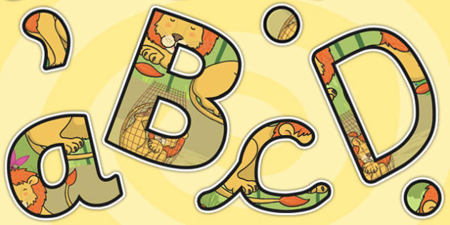 The Lion And The Mouse Themed Display Lettering - display, letter