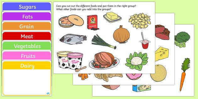 Food Group Sorting Activity - food, food groups, matching cards, sorting cards, cards, flashcards, grouping, dairy, vegetable, fruit, protein, grains