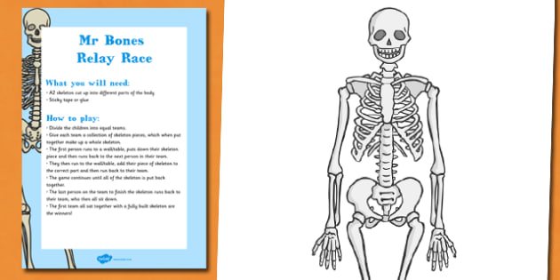 Mr Bones Relay Race Halloween Party Game and Resource Pack - displays, resources, ks1, early years, fun, activity