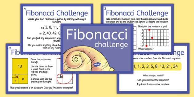 Fibonacci Numbers Challenge Cards - fibonacci, numbers, challenge, cards