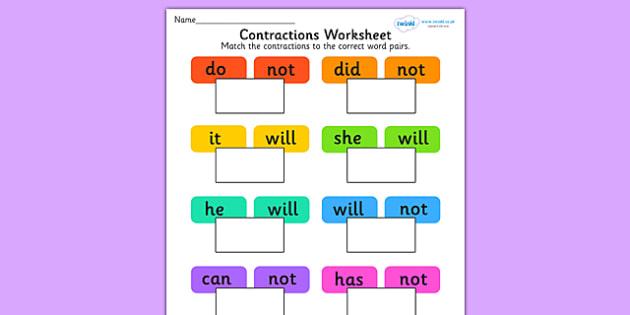 Contractions Worksheet - contractions, contractions sheet, don't, can't, literacy, literacy worksheet, contractions literacy worksheet, abbreviations