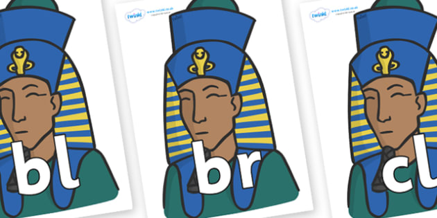 Initial Letter Blends on Pharaohs - Initial Letters, initial letter, letter blend, letter blends, consonant, consonants, digraph, trigraph, literacy, alphabet, letters, foundation stage literacy