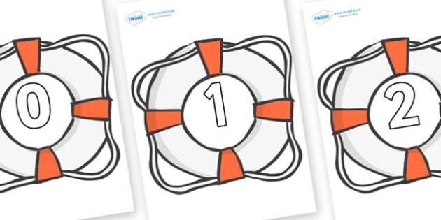 Numbers 0-50 on Life Belts - 0-50, foundation stage numeracy, Number recognition, Number flashcards, counting, number frieze, Display numbers, number posters