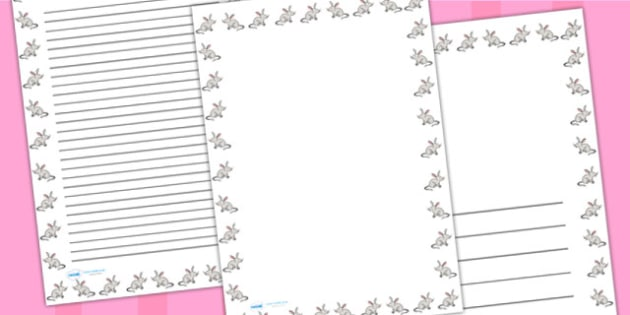 Easter Bilby Portrait Page Borders - easter, writing templates