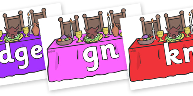 Silent Letters on Dining Tables - Silent Letters, silent letter, letter blend, consonant, consonants, digraph, trigraph, A-Z letters, literacy, alphabet, letters, alternative sounds