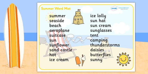 Summer Word Mat (Text Version) -  Summer, holidays, word mat, writing aid, Summer, seasons, beach, sun, flowers, ice cream, sea, seaside