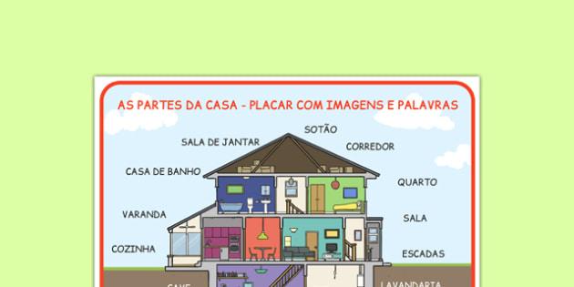 As partes da casa - Placar com imagens e palavras Portuguese - portuguese, parts, house, word mat, word, mat