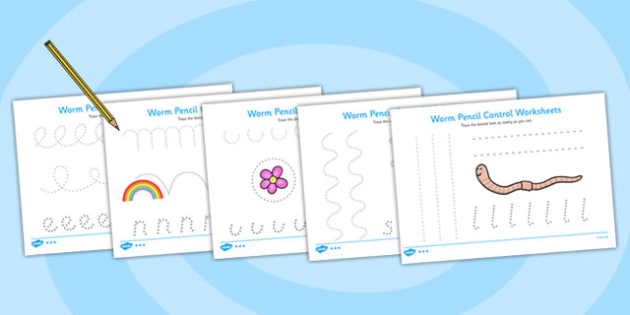 Worm Pencil Control Worksheets - superworm, pencil control