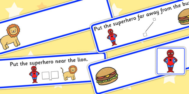 Put The Superhero Near Or Far Picture Strips - preposition