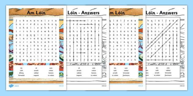 Irish Gaeilge Am Lóin Word Search - irish, gaeilge, am loin, word search, activity