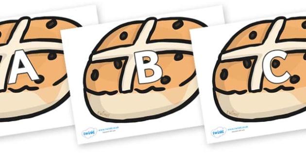 A-Z Alphabet on Hot Cross Buns - A-Z, A4, display, Alphabet frieze, Display letters, Letter posters, A-Z letters, Alphabet flashcards
