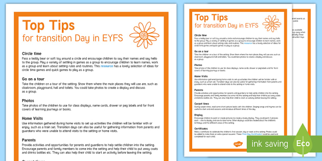 Transition Day in EYFS Top Tips