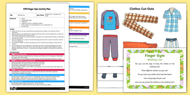 EYFS Washing Line Finger Gym Plan and Resource Pack