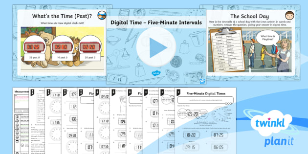 PlanIt Y3 Measurement Lesson Pack Telling the Time (5) - measurement, time, digital times, 5 minute intervals, tell and write the time from an analogue clock