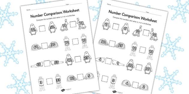 Polar Regions Number Comparison Worksheet - polar, worksheet