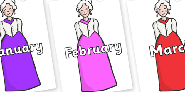 Months of the Year on Dames - Months of the Year, Months poster, Months display, display, poster, frieze, Months, month, January, February, March, April, May, June, July, August, September