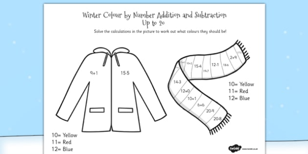Winter Colour by Number Addition and Subtraction Up to 20 - 20