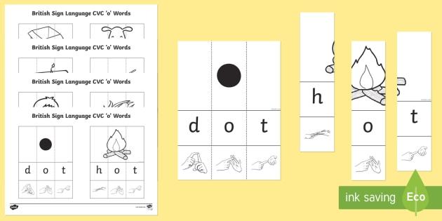 British Sign Language CVC  'o' Words Jigsaw - BSL Resources, British Sign Language, fingerspelling, deaf, jigsaw, puzzle, signing, spelling, spell